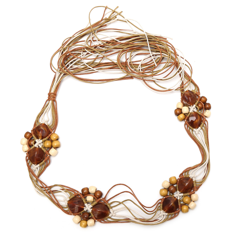 Women Bohemia National Style Hand-Woven Wooden Beads Knotted Tassels   Belt   Waist Chain Female Ceinture Waistband 4 Colors