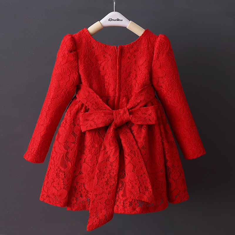 DFXD Toddler Girl Dresses Winter Long Sleeve Red Full Lace Cotton Big Bowknot Princess Dress Kids Thick Wedding Party Dress 2-8Y flare sleeve cut out bowknot mini dress