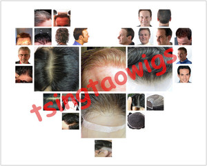 Image 5 - Thin skin injected  men toupee color 1b size 8x10inch  men  wig /replacement , system , Peruca free shipping