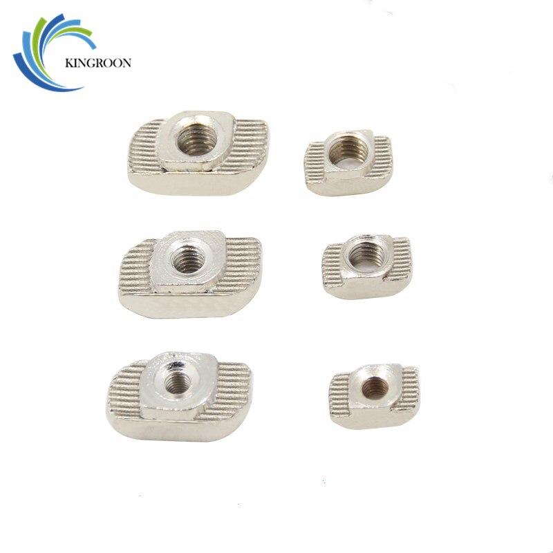 50Pcs/lot 3D Printer M3 M4 M5 T Type Nut Fastener Connector For 2020 3030 Aluminium Profile Parts T Nut Free Shipping