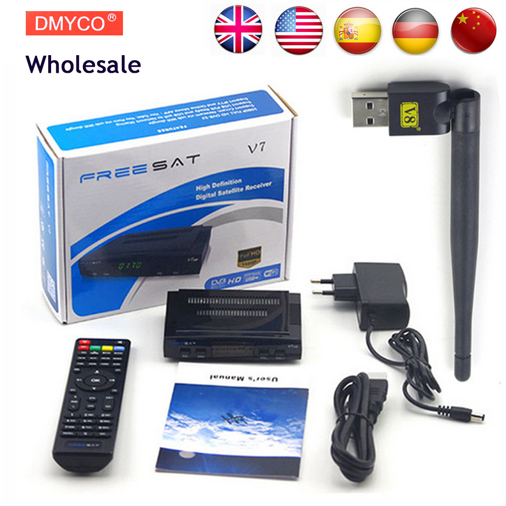 Wholesale Freesat V7 HD DVB-S2 Receptor Satellite Decoder + V8 USB WIFI HD 1080p Support BISS Key Powervu Satellite Receiver wholesale freesat v7 hd dvb s2 receptor satellite decoder v8 usb wifi hd 1080p support biss key powervu satellite receiver