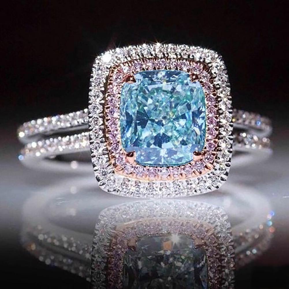 Rhinestone Inlaid Square Shape Princess Ring Wedding Promise Gift Party Jewelry