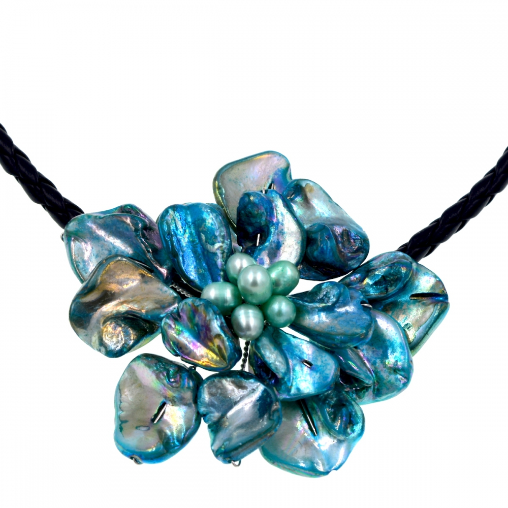2017 Trendy fashion turquoises shell blue pearl flower woven leather necklace Jewelry Hot Sell