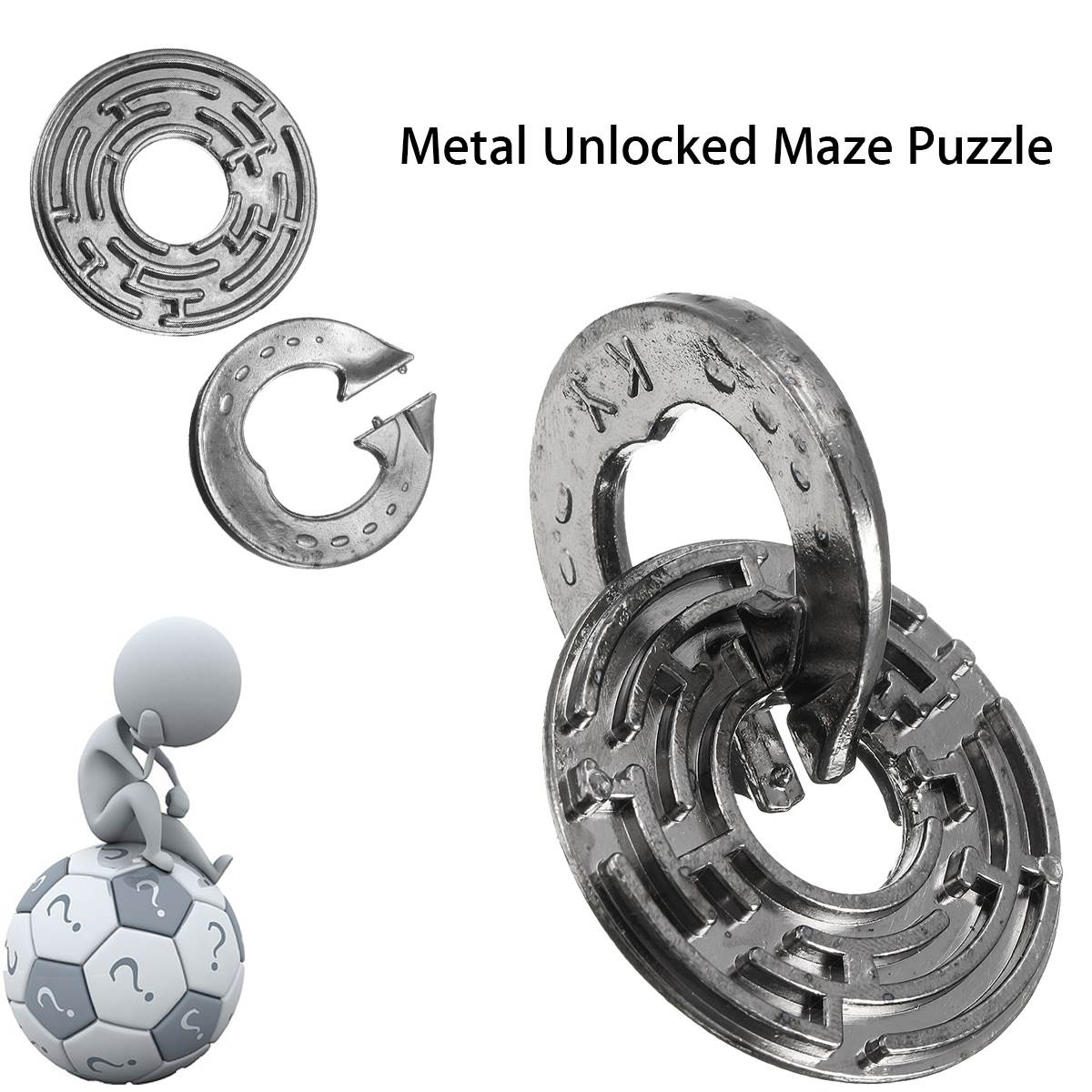 Funny Metal Unlocked Maze Puzzle Labyrinth IQ Mind Brain Teaser Educational Toy Gift Puzzle Game Toy For Children Kids metal puzzle iq mind brain game teaser square educational toy gift for children adult kid game toy
