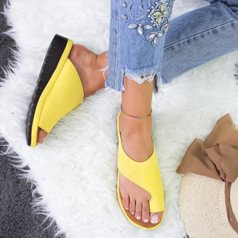 Lunoakvo 1 Pair  Women Sandals 2019 Fashion Solid Comfy Platform Shoes Feet Correct Thickened Street PU Leather Dating Flat Sole big toe sandal