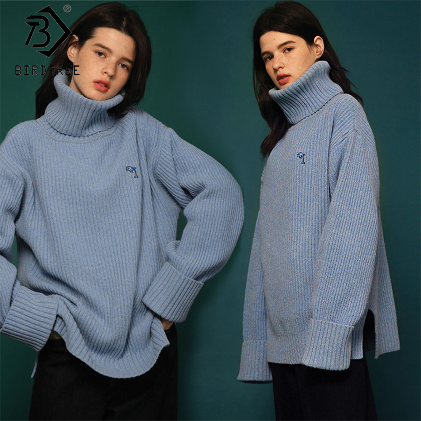 2018 Fashion Lady Full Sleeve Women Blue & Pink Knitting Sweater Appliques Solid Turtleneck Pullover Loose Sweater Hots S89913Q
