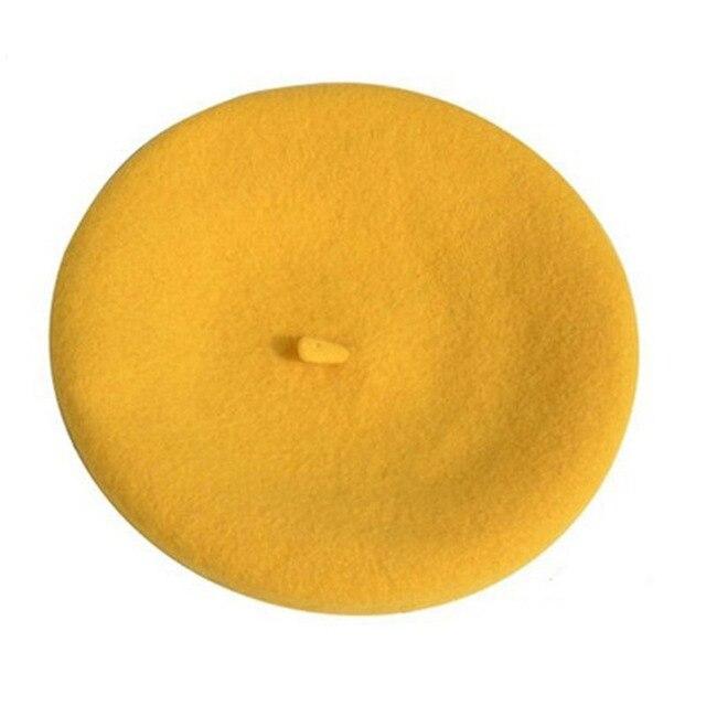 Берет художника, уличные шапки художника, осень и зима, новые теплые вязаные однотонные кепки, модный мех енота, помпон, берет в стиле винтаж - Цвет: Yellow