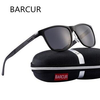 BARCUR Mannen Aluminium Zonnebril Gepolariseerde UV400 Spiegel TAC Lens Klassieke Merk Mannelijke Zonnebril Vrouwen Voor Mannen Oculos de sol