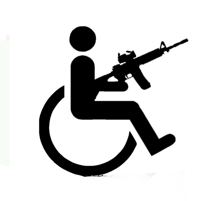 gro handel 10 teile los 20 teile los mann in rollstuhl halten gewehrgewehr auto aufkleber auto. Black Bedroom Furniture Sets. Home Design Ideas