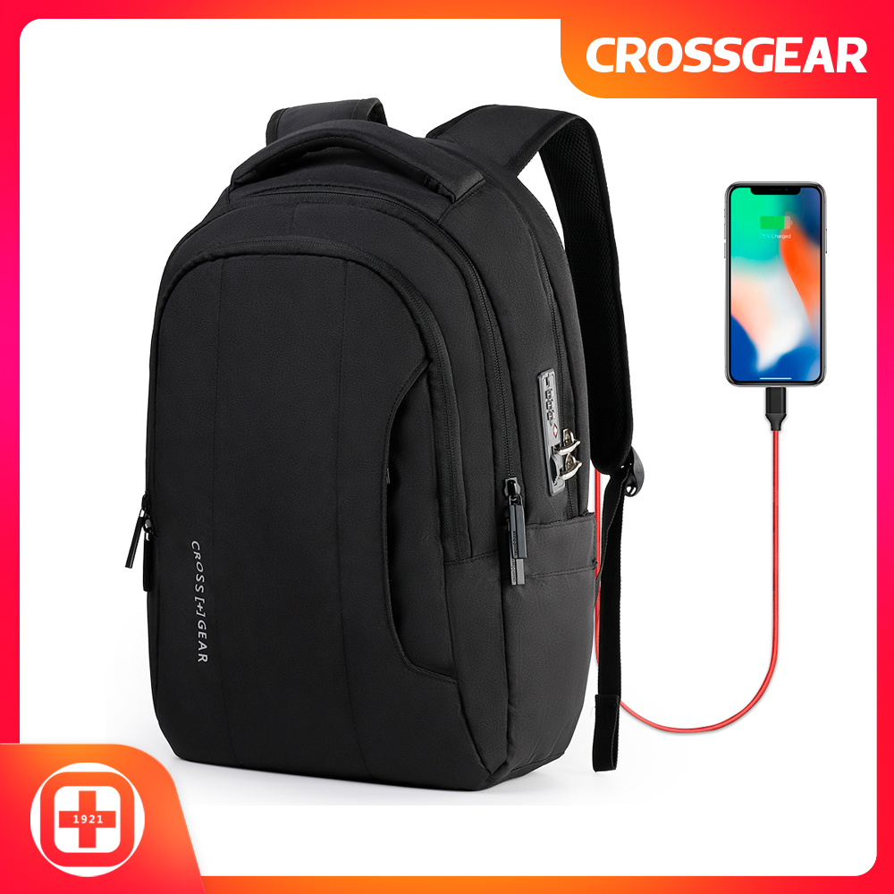 CROSSGEAR Laptop Backpack School Bag with USB Charging Port and Anti Theft Lock - Fits Most 15.6 Inch Laptops and TabletsCROSSGEAR Laptop Backpack School Bag with USB Charging Port and Anti Theft Lock - Fits Most 15.6 Inch Laptops and Tablets