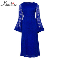 Plus Size Woman Big Flare Sleeve Dress 2018 Party Club Hollow Out Sexy Long Dress Elegant Royal Blue Lace Mermaid Maxi Dresses