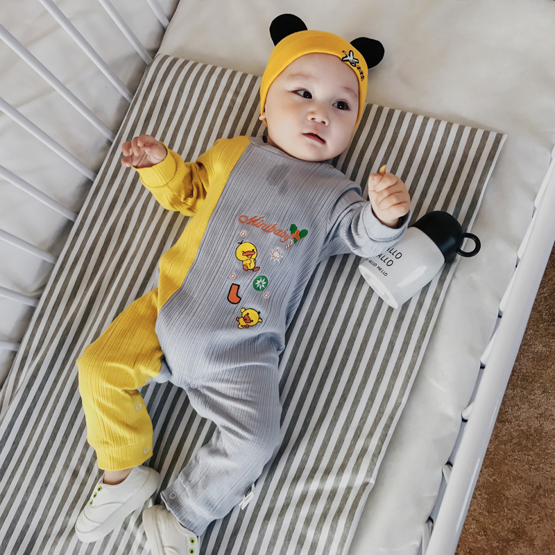 Baby Rompers Spring Cartoon Baby Clothes Cotton Fight Color Platypus Embroidered Long Sleeve Kids Jumpsuits Boys Girls Rompers baby rompers spring autumn cartoon dog baby clothes cotton long sleeve jumpsuits boys girls rompers baby outfits girls clothes