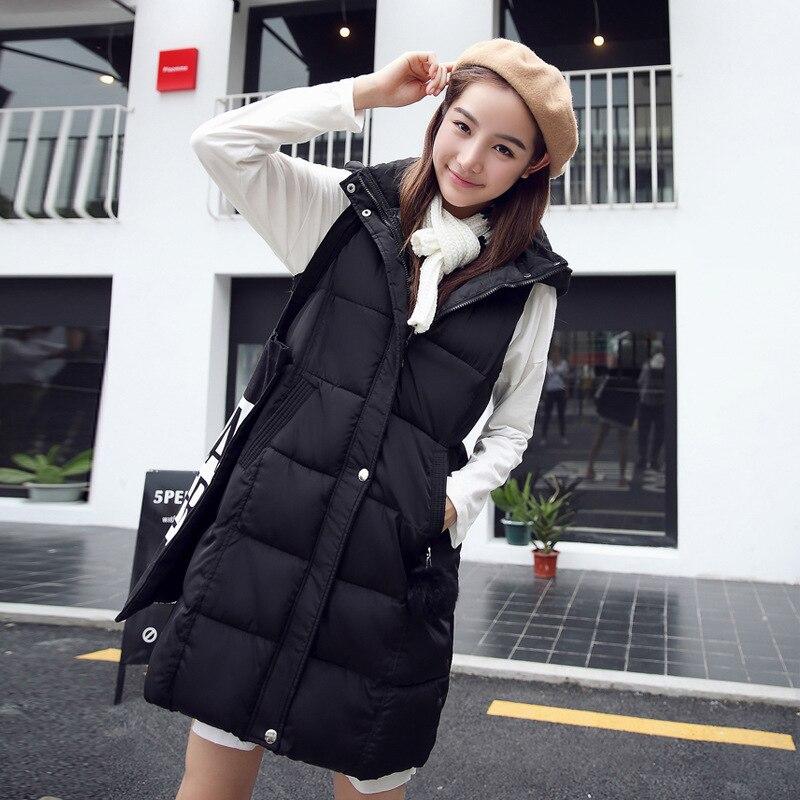 Mujeres chaleco invierno abrigo algodón acolchado con capucha chaleco largo sin  mangas wadded abrigo estilo de Corea cremallera chaleco mujer YL470 en ... bc9afd88d13d