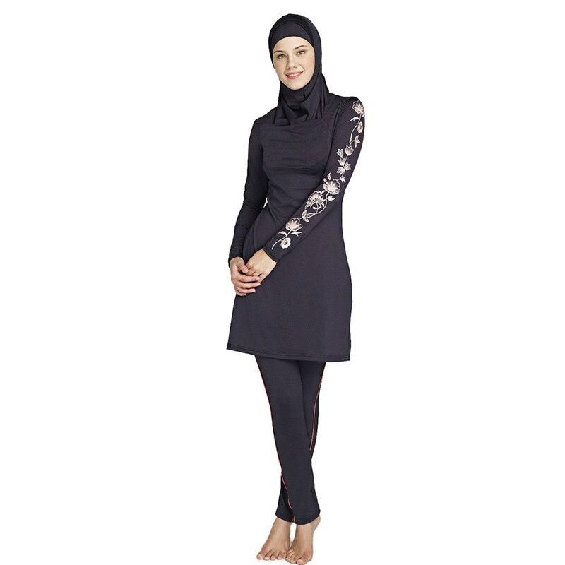 Musulmán del traje de baño mujer traje de baño de dos piezas para las mujeres más el tamaño de natación ropa de playa 2016 nuevo traje de Baño Islámico musulmán