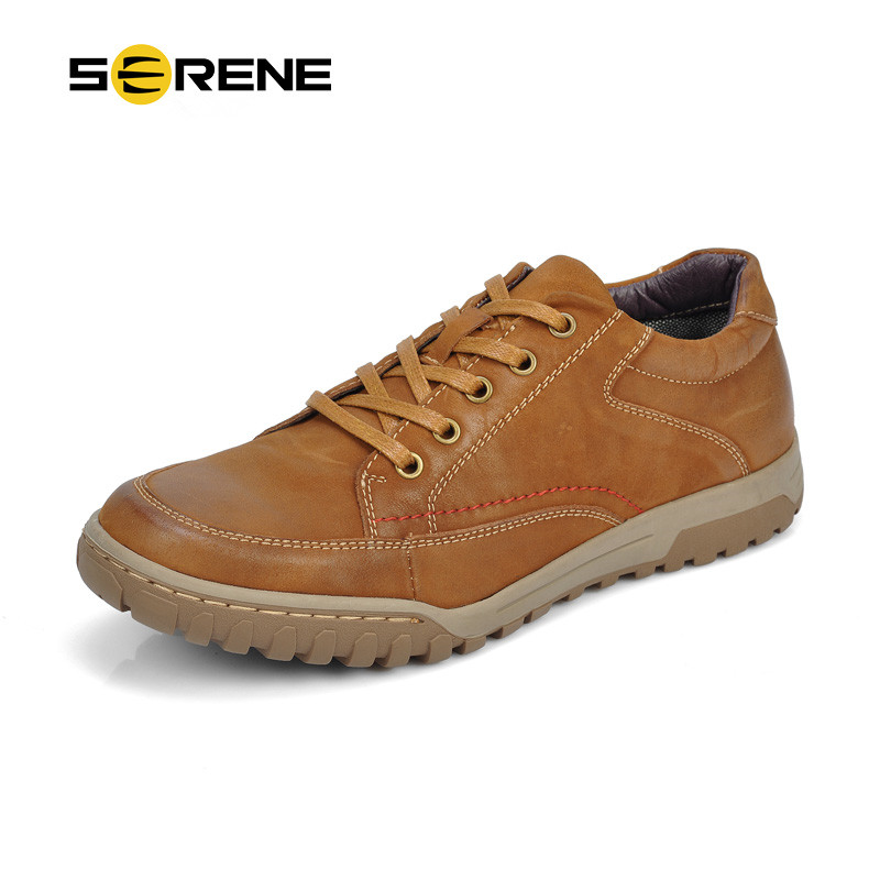 SERENE 2018 Men Shoes Male Shoes Casual Leather Big Size 39-46 Lace-up High Quality Brown Blue Ankle Round Toe Rubber Sole 6269 business men tie shallow mouth brown leather casual rivet shoes men s shoes round youth non slip rubber sole