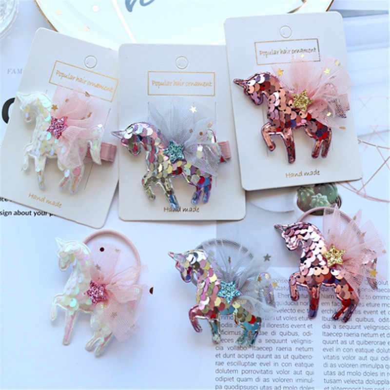 15pcs/lot Hair Accessories Unicorn Glitter Sequins Hair Clips Hair Rope for Girls Fashion Cartoon Kids Star Hairpins Barrettes