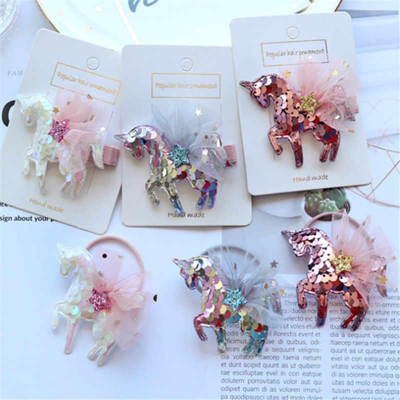 15pcs/lot Hair Accessories Unicorn Glitter Sequins Hair Clips Hair Rope for Girls Fashion Cartoon Kids Star Hairpins Barrettes