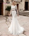 Dreagel Elegant Long Sleeves Mermaid Wedding Dress 2017 Glamorous Lace Appliques Sashes Bridal Dress Vestido de Noiva Plus Size