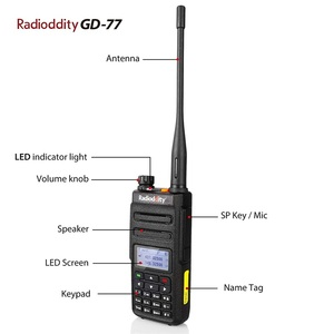 Image 3 - 1 çift Radioddity GD 77 Dual Band çift zaman dilimi dijital iki yönlü telsiz Walkie Talkie telsiz DMR Motrobo katman 1 katmanlı 2 kablo