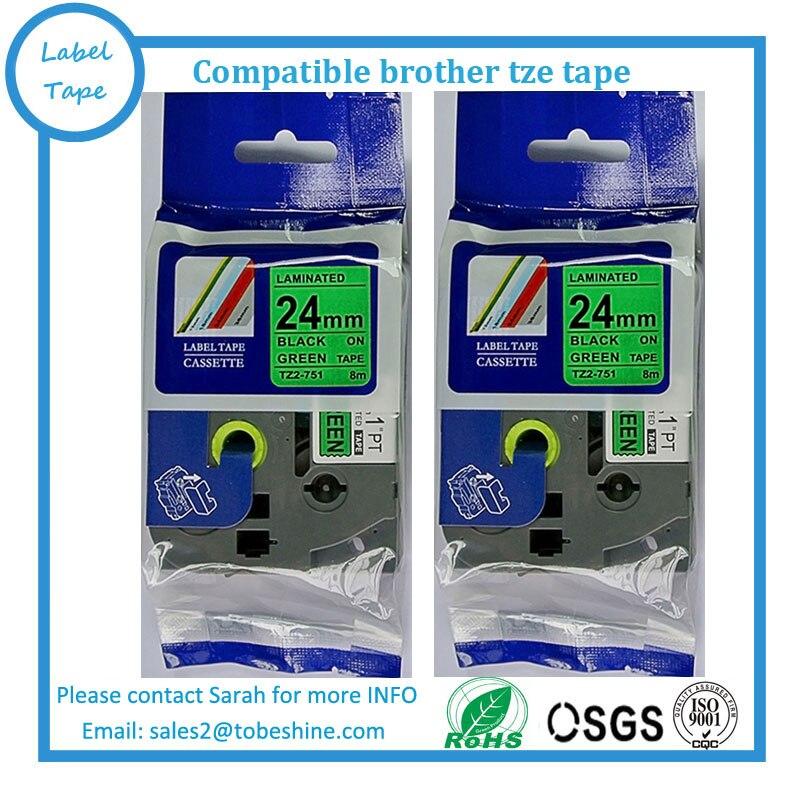 6pk/lot Compatible Tze Tape 24mm Black On Green Tze 751 For P Touch Tze751 Tz751 Tz 751