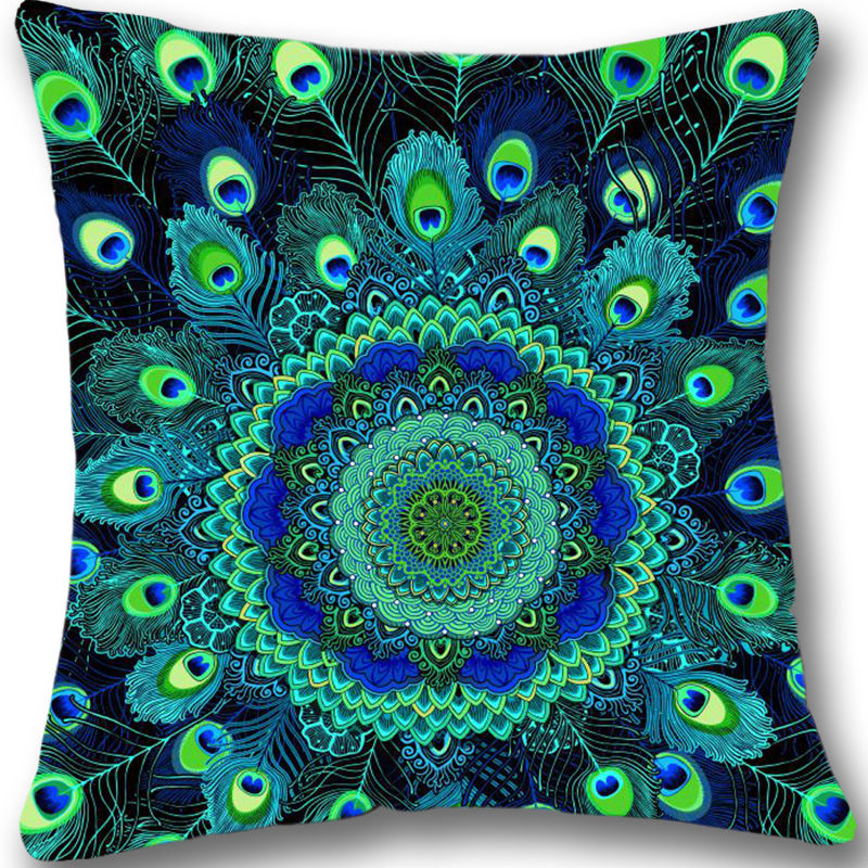 Colorful Peacock Feathers Cushion Cover Decorative Peacock Throw Pillow Case Beautiful Home