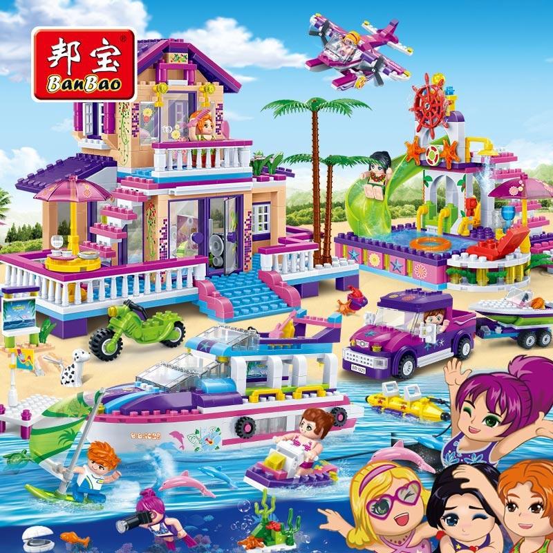 BanBao Filles Enfants Jouets Éducatifs Enfants Cadeaux Ville Amis Maison Hors-Bord Aire de Jeux Autocollants Compatible avec Legoe