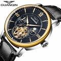 Натуральная GUANQIN Элитный бренд Tourbillon Skeleton автоматические механические часы Для мужчин Спорт кожаный ремешок наручные часы Relogio Masculino