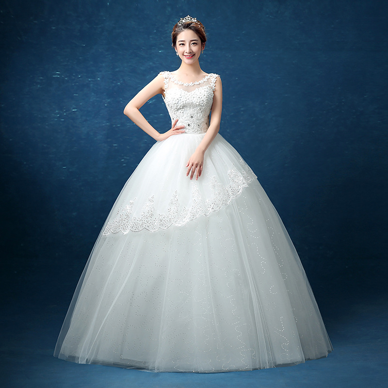 Free shipping new Bridal wedding dresses Flower lace ball gown wedding gown Slim straps floor length