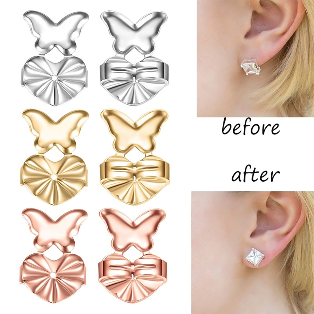 Magic Earring Backs Support Earring Lifts Fits All Post Earrings Set Silver /Gold Color Earrings Accessories Dropship