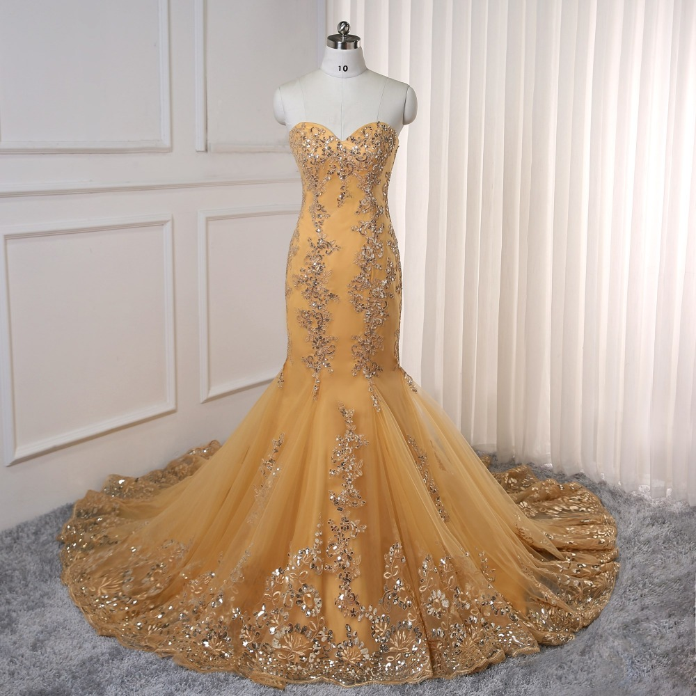 2019 Prom Dresses Mermaid Golden Tulle Appliques Lace Backless Party Maxys Long Prom Gown Evening Dresses