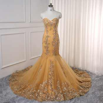 2019 Prom Dresses Mermaid Golden Tulle Appliques Lace Backless Party Maxys Long Prom Gown Evening Dresses Robe De Soiree - Category 🛒 All Category