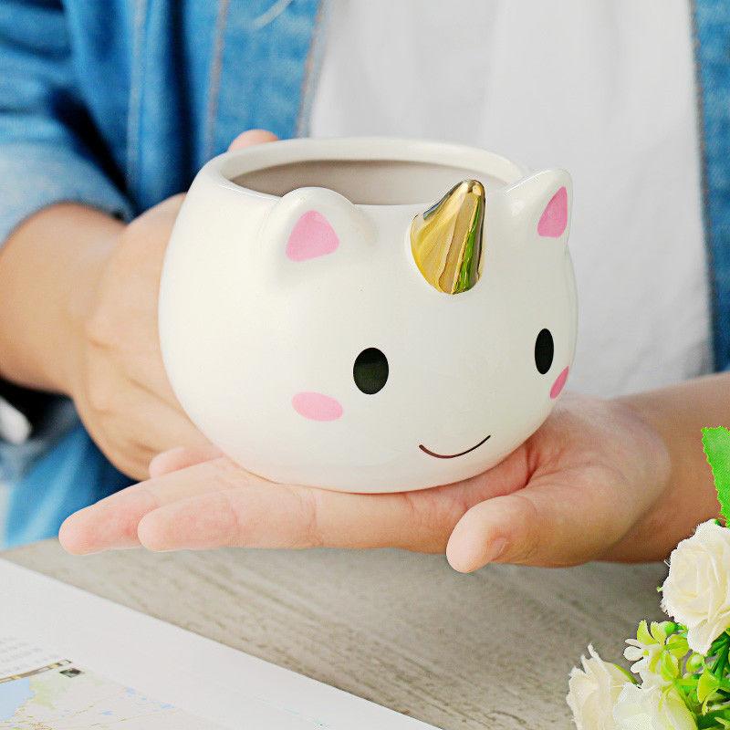 3D Unicorn Cups Hand-painted Mug Cute Cartoon Cup 300ml Creative Ceramic Coffee Mugs Office Breakfast Mug Girl Birthday Gift 流水 盆 養魚