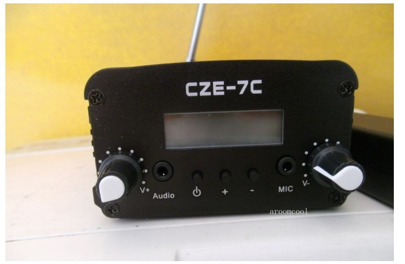 CZE-7C 7Watt Stereo LCD Broadcast Radio Station FM transmitter +12V adapter +Antenna+cable