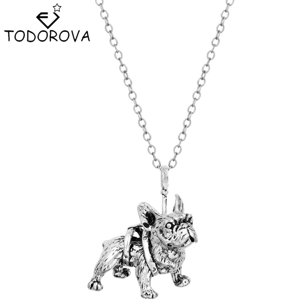 Todorova Boho Chic French Bulldog Necklaces Pendants Hippie Animal Dog Collier Bff Female Necklaces for Women