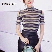 Короткий рукав свитер в женщин с плеча трикотажные Топ свитер Лето черный, белый цвет полосатый свитер