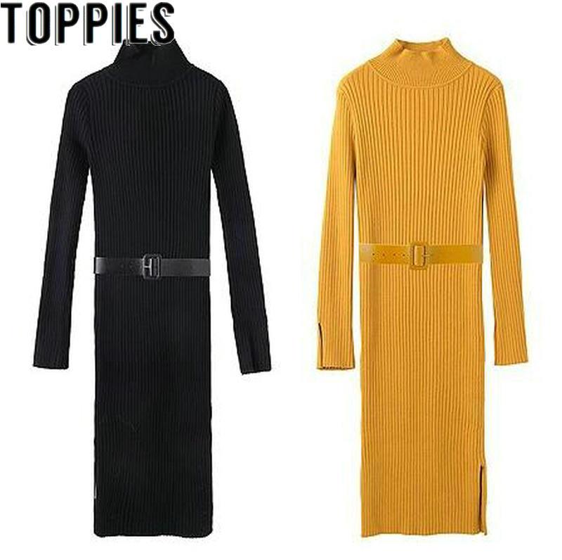 2019 Winter Women Slim Sweater Dress Elastic Turtleneck Midi Knitting Dress With Belt Coffee Black Yellow Color Knit Dresses knitting