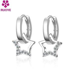 New Fashion Crystal Star Earring For Women 925 sterling silver Earring Female Korean Ear Jewelry Kolczyki