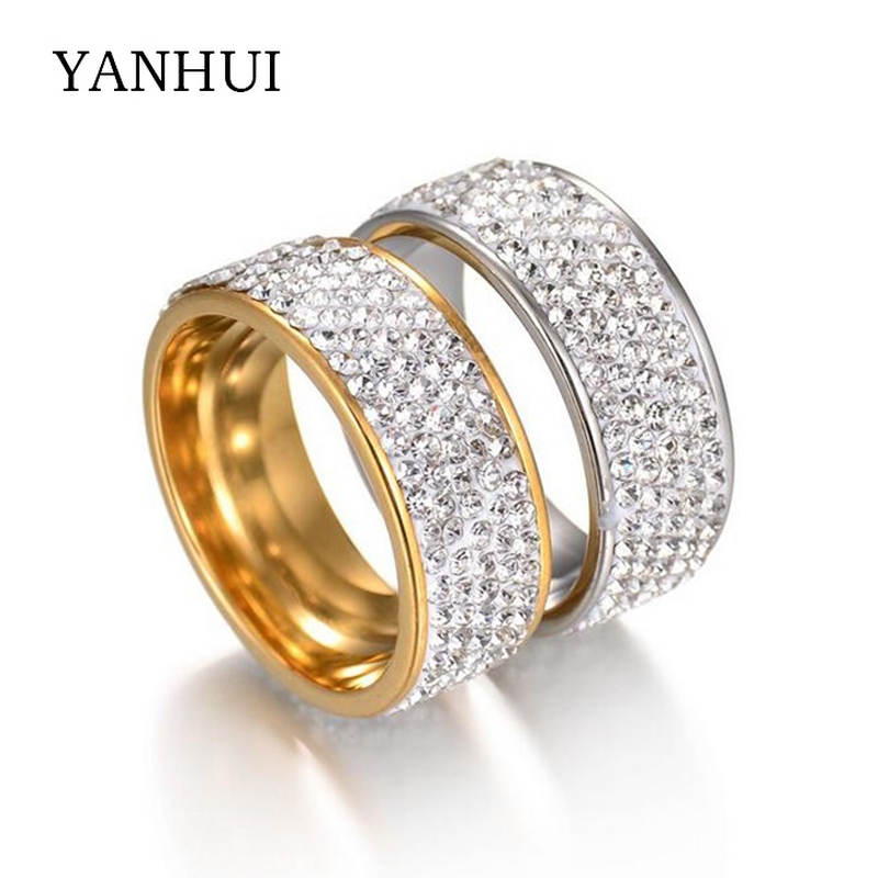 YANHUI Luxury 5 Row Lines Clear Crystal Diamant Ring Stainless Steel Engagement Rings Gold Filled Fashion Jewelry Ring Wholesale
