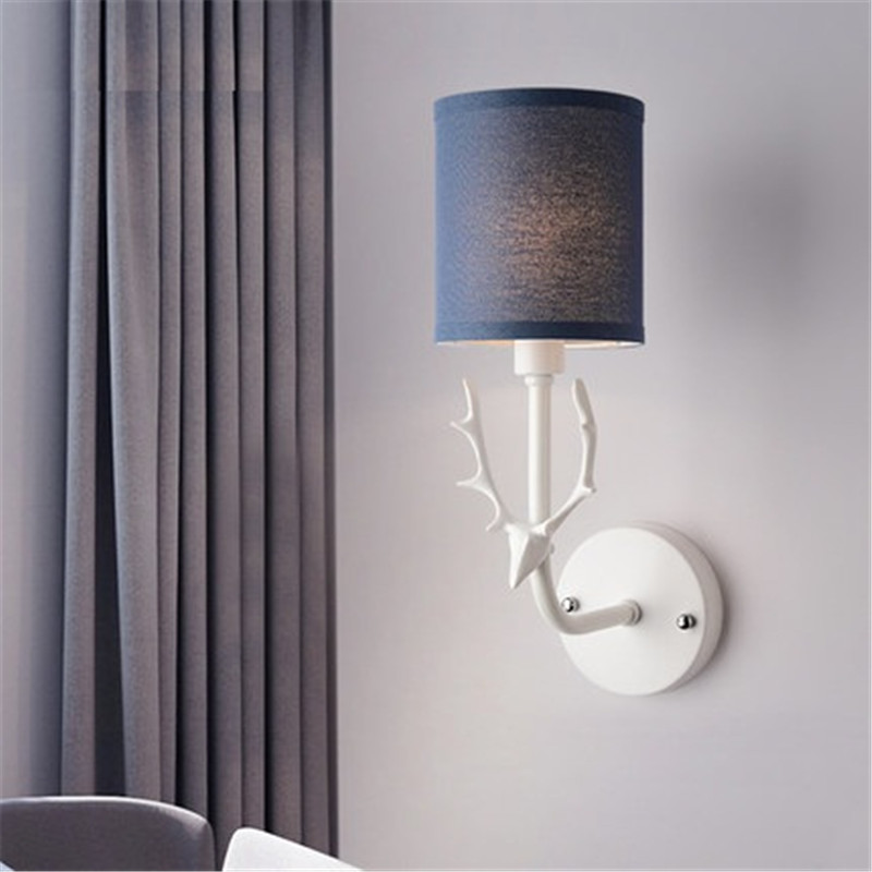 Simple Cloth LampShade Creative Antlers Wall Lamp Modern LED Wall Light Fixtures For Home Bedside Wall Sconce Indoor Lighting