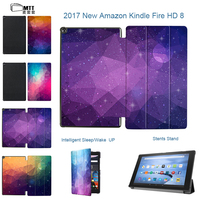 MTT trường hợp thông minh cho amazon kindle fire hd 8 2017 In Ảo không gian trường hợp for all new fire hd thế hệ thứ tablet Lật PU bìa