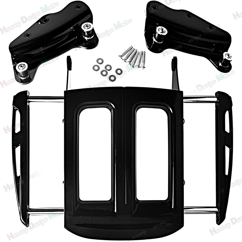 4Point Docking Hardware&Two-Up Gloss Black Luggage Rack For Harley Touring Street Glide Road King FLHX FLHR 09-12 13 motorcycle chrome luggage rack for harley touring road king street glide cvo road glide street electra glide flhr 2009 2017 16