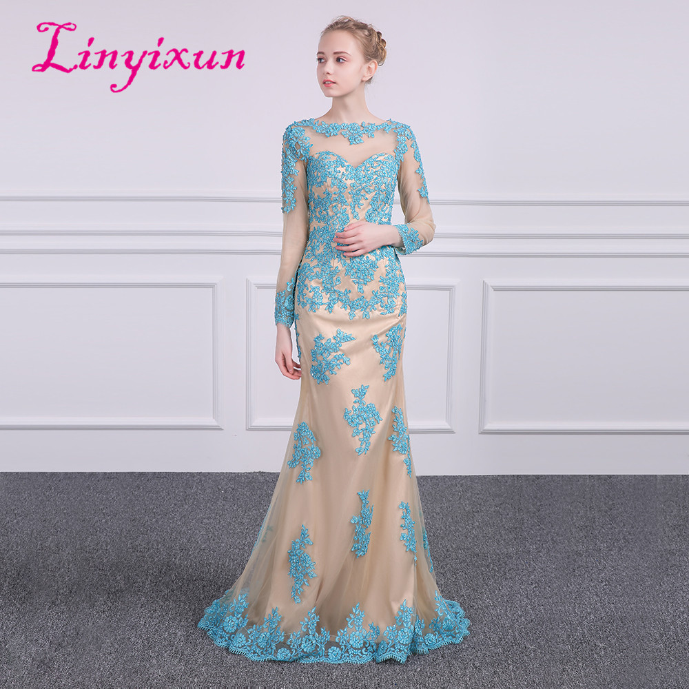 304328ce9 Linyixun Robe de Soiree Longue Dubai manga larga Scoop sirena vestidos de  noche 2018 vestidos ...