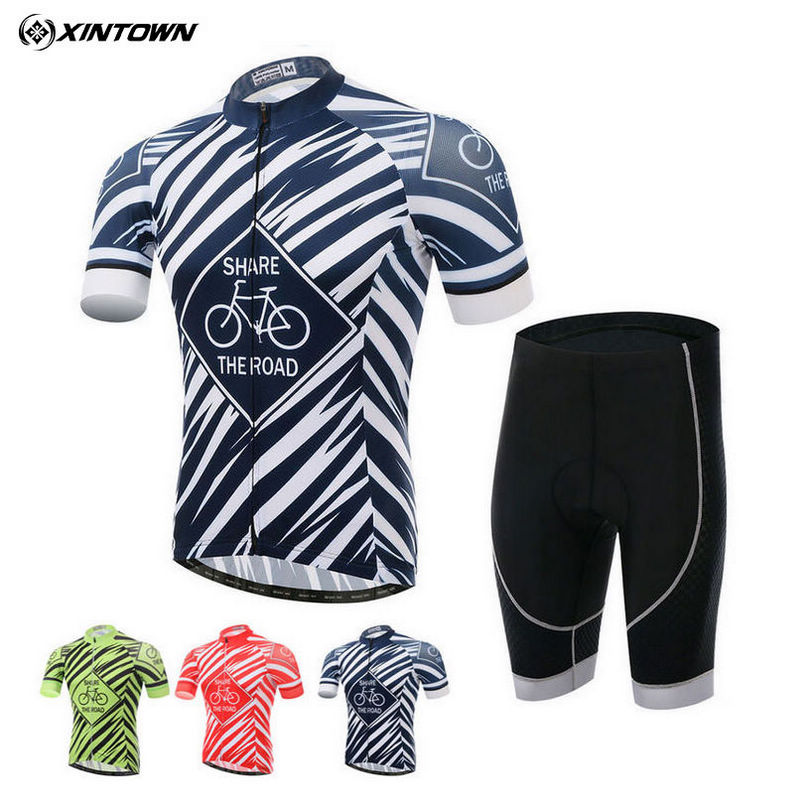 XINTOWN Pro Team Mens Comfortable Ropa Ciclismo Cycling Jersey Gel Pad Short Set MTB Bike Bicycle Clothing Set 3-Colors