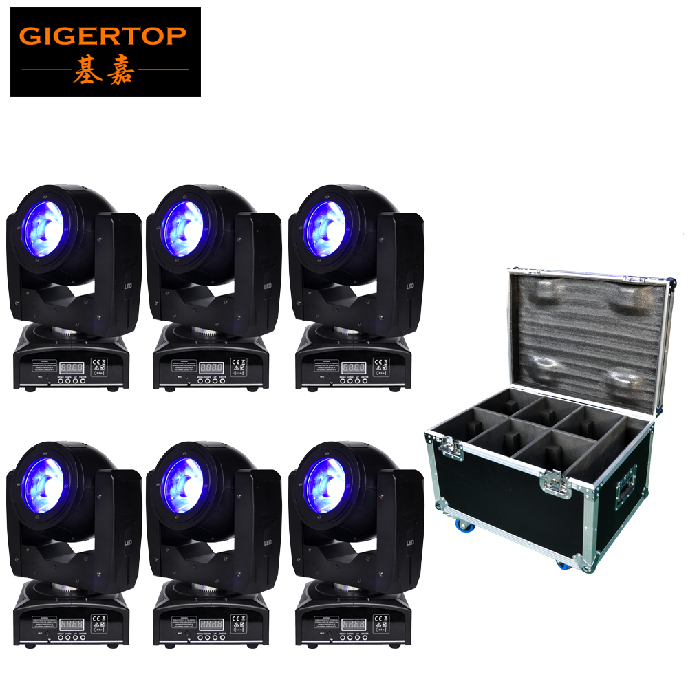 Freeshipping Flight Case 6in1 Pack 60W Led Moving Head Beam Light Small Light RGBW 4IN1 Weight 3 PIN XLR DMX IN/OUT Socket