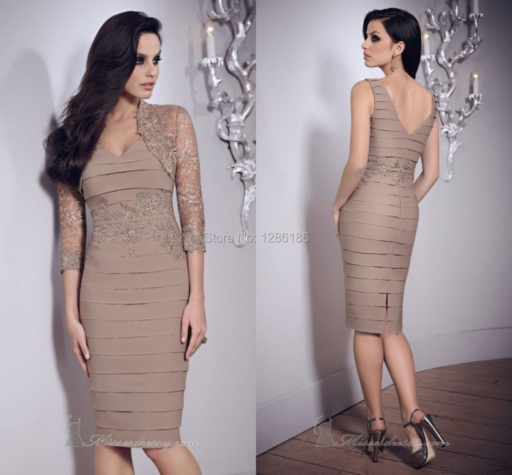 Taupe Mother Of The Bride Dresses Knee Length Wedding Guests Dress+ ...