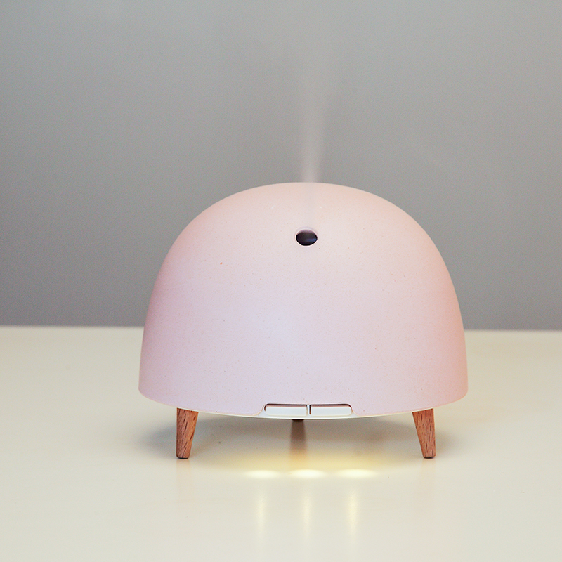 200ML Mist Humidifier Ultrasonic Aroma Oil Diffuser Bamboo Fiber Cover Real Wood Humidifying Essential Night Light Aroma Maker