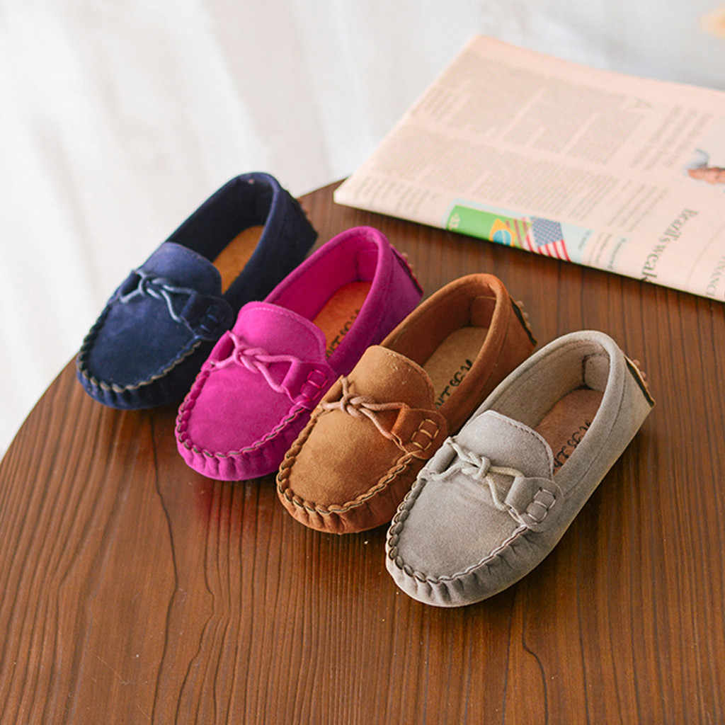 เด็กสาว Loafers สีทึบด้านล่างนุ่ม Breathable Casual รองเท้า