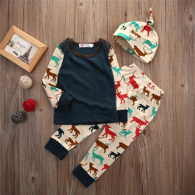 68ddf2a408d4 2017 New baby girl clothing set Christmas style baby suit long-sleeved  romper + pants + hat 3pcs newborn baby clothes