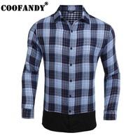 COOFANDY Casual Shirt Men Spring Plaid Print Fashion Turn Down Collar Long Sleeve Button Down Collar