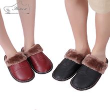 f89396f03a8 Prowow Plus Size 35-44 Genuine Leather Warm Winter Home Slippers Non-Slip  Thick